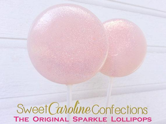 Baby Pink Sparkle Lollipops - Set of 6 - Sweet Caroline Confections | The Original Sparkle Lollipops