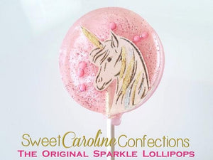 Light Pink Unicorn Sparkle Lollipops - Set of 6 - Sweet Caroline Confections | The Original Sparkle Lollipops