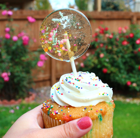 Birthday Cake Lollipop - Set of 6 - Sweet Caroline Confections | The Original Sparkle Lollipops
