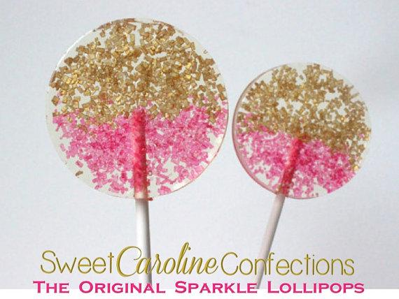 Gold and Pink Sparkle Lollipops - Set of 6 - Sweet Caroline Confections | The Original Sparkle Lollipops
