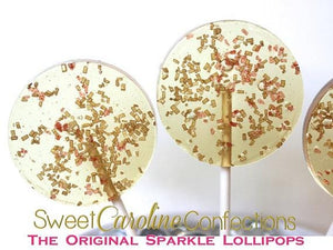 Gold and Red Sparkle Lollipops - Set of 6 - Sweet Caroline Confections | The Original Sparkle Lollipops