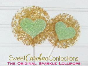 Gold and Mint Heart Lollipops - Set of 6 - Sweet Caroline Confections | The Original Sparkle Lollipops