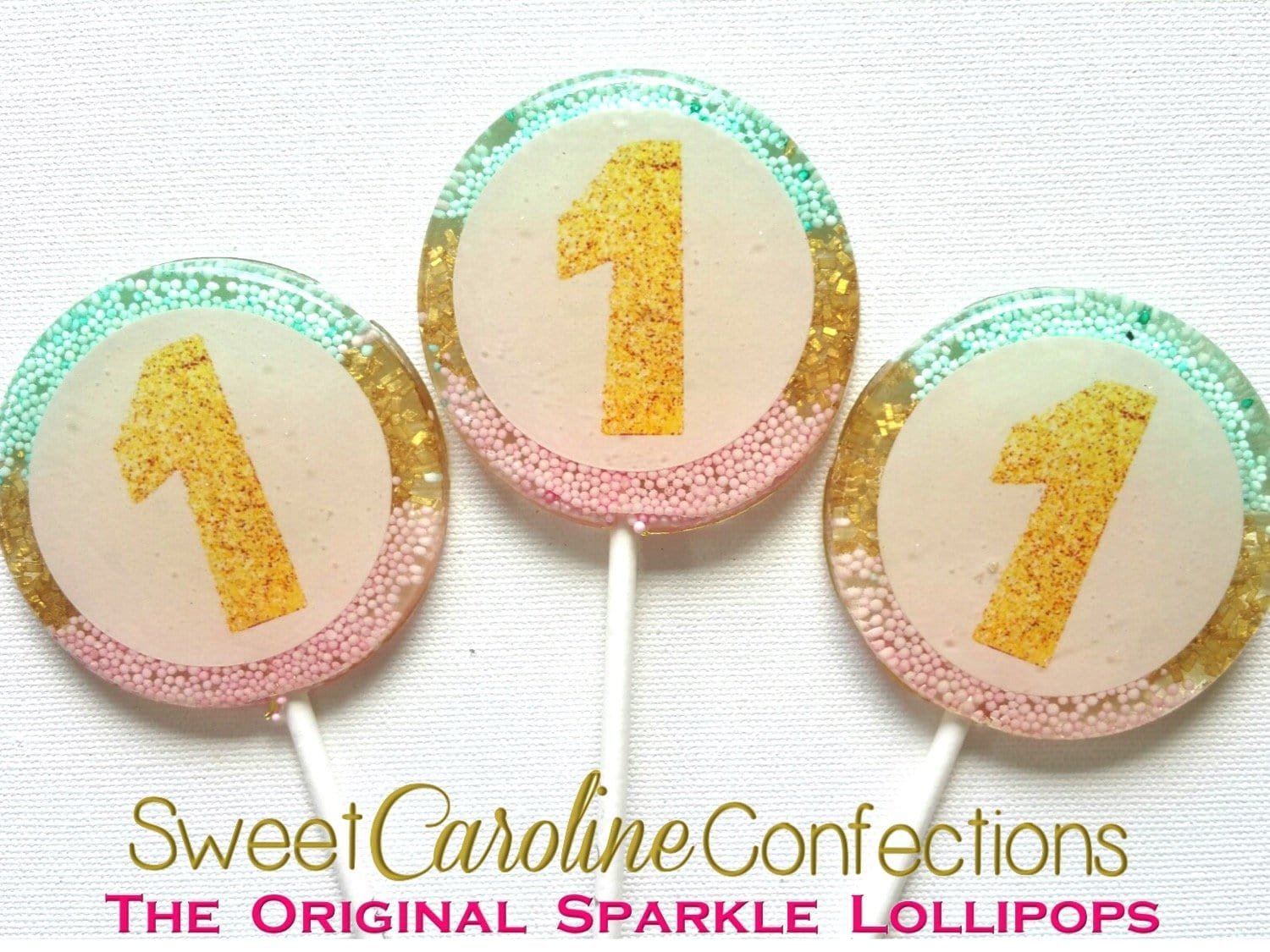 Pink, Aqua, Gold Number Sparkle Lollipops - Sweet Caroline Confections | The Original Sparkle Lollipops
