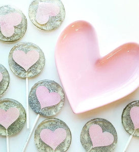Silver and Light Pink Heart Lollipops - Set of 6 - Sweet Caroline Confections | The Original Sparkle Lollipops