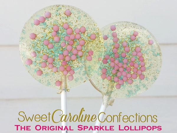 Pink+Aqua+Gold Lollipops - Set of 6 - Sweet Caroline Confections | The Original Sparkle Lollipops