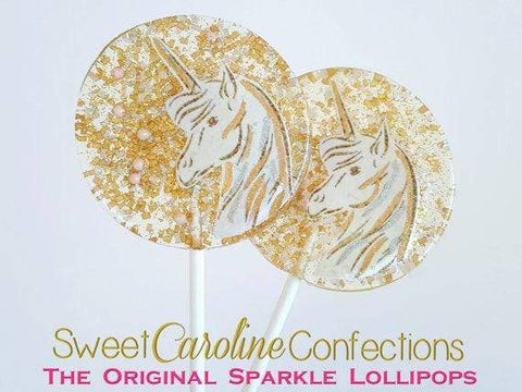Gold Unicorn Lollipops - Set of 6 - Sweet Caroline Confections | The Original Sparkle Lollipops