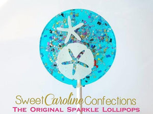 Aqua Starfish Lollipops - Set of 6 - Sweet Caroline Confections | The Original Sparkle Lollipops