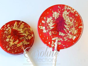 Red+Gold Christmas Tree Sparkle Lollipops-Set of 6 - Sweet Caroline Confections | The Original Sparkle Lollipops