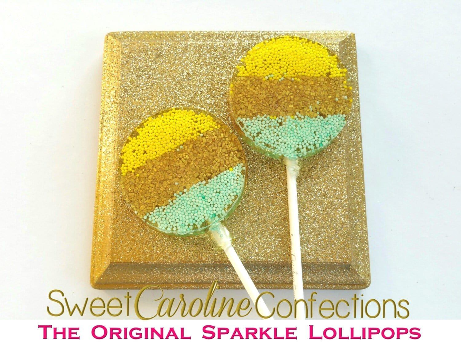 Yellow+Gold+Light Aqua Lollipops - Set of 6 - Sweet Caroline Confections | The Original Sparkle Lollipops