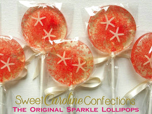 Coral Beach Wedding Lollipops - Set of 6 - Sweet Caroline Confections | The Original Sparkle Lollipops