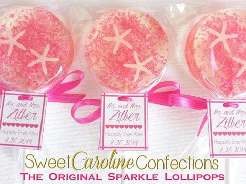 Pink Beach Lollipops with Tags - Set of 6 - Sweet Caroline Confections | The Original Sparkle Lollipops