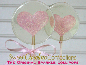 Light Pink Heart Lollipop - Set of 6 - Sweet Caroline Confections | The Original Sparkle Lollipops