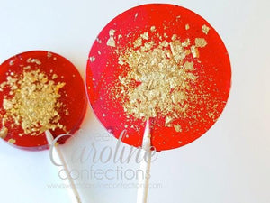 Red and Gold Sparkle Lollipops - Set of 6 - Sweet Caroline Confections | The Original Sparkle Lollipops
