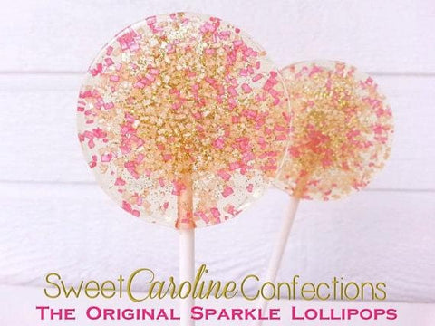 Citrine and Hot Pink Sparkle Lollipops - Set of 6 - Sweet Caroline Confections | The Original Sparkle Lollipops