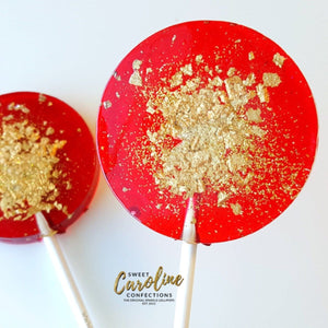 Red and Gold Lollipops - Set of 6