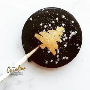 Black and Gold Christmas Tree Lollipops - Set of 6 - Sweet Caroline Confections | The Original Sparkle Lollipops