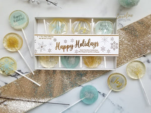NEW! Happy Holidays Gift Box - 6 Lollipop Set - Sweet Caroline Confections | The Original Sparkle Lollipops