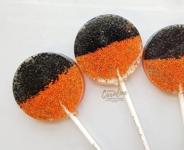 Orange & Black Lollipops - Set of 6 - Sweet Caroline Confections | The Original Sparkle Lollipops