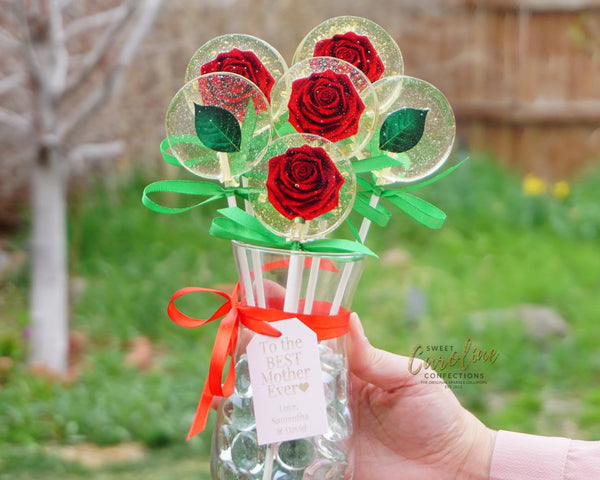 Red Rose Lollipop Flower Vase with Personalized Note, Free Shipping - Sweet Caroline Confections | The Original Sparkle Lollipops