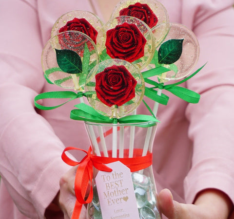 Red Rose Lollipop Flower Vase with Personalized Note, Free Shipping