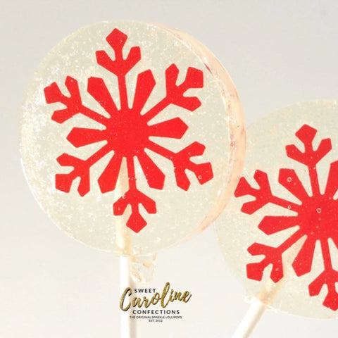 Red Snowflake Lollipops - Set of 6 - Sweet Caroline Confections | The Original Sparkle Lollipops