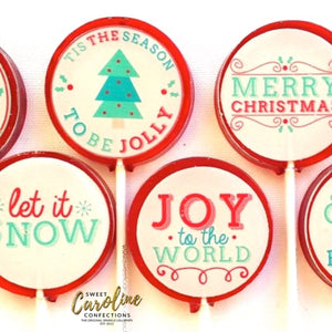 Christmas Message Lollipops - Set of 6 - Sweet Caroline Confections | The Original Sparkle Lollipops