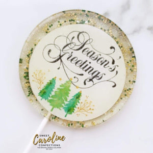 4 Inch Seasons Greetings Lollipops - Set of 1 - Sweet Caroline Confections | The Original Sparkle Lollipops