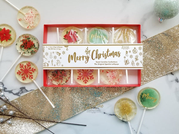 NEW! Merry Christmas Gift Box - 6 Lollipop Set - Sweet Caroline Confections | The Original Sparkle Lollipops