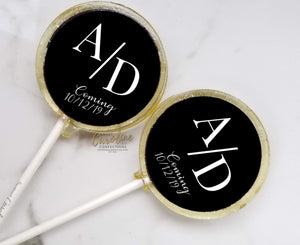 Black and White Bridal Shower Lollipops - Set of 6 - Sweet Caroline Confections | The Original Sparkle Lollipops