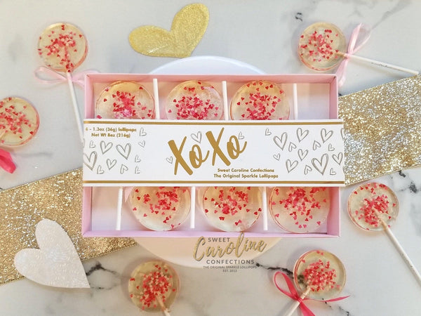 NEW! Valentine's Day Gift Box - Multicolored Hearts in XoXo Box - 6 Lollipop Set - Sweet Caroline Confections | The Original Sparkle Lollipops