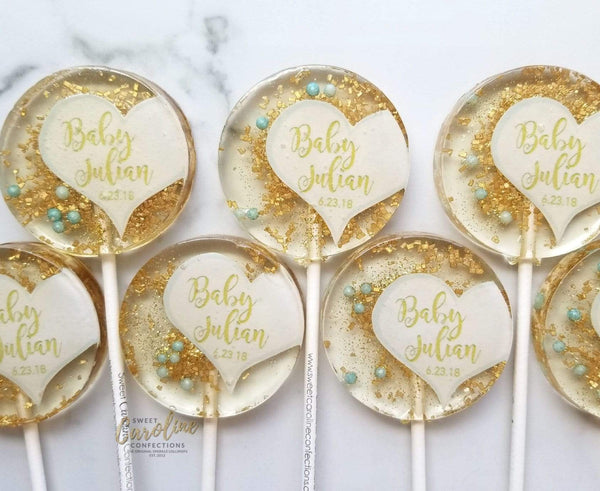 Light Blue and Gold Half Heart Lollipops- Set of 6 - Sweet Caroline Confections | The Original Sparkle Lollipops