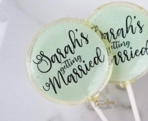 Mint and Black Bridal Shower Lollipops - Set of 6 - Sweet Caroline Confections | The Original Sparkle Lollipops