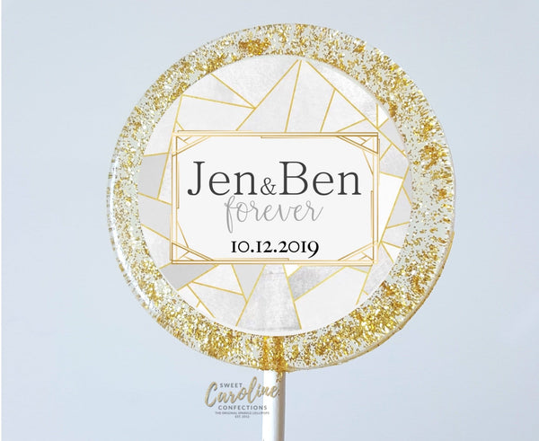Geometric Gold and Silver Wedding Lollipops - Set of 6 - Sweet Caroline Confections | The Original Sparkle Lollipops