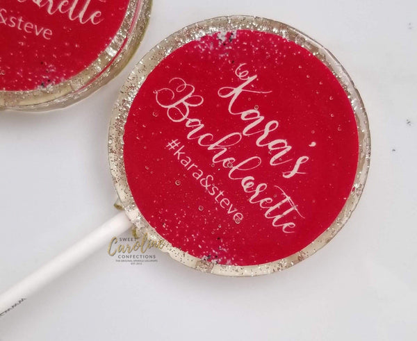 Hot Pink and Silver Bachelorette Lollipops - Set of 6 - Sweet Caroline Confections | The Original Sparkle Lollipops