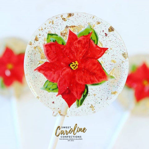 Poinsettia Lollipops - Set of 6 - Sweet Caroline Confections | The Original Sparkle Lollipops