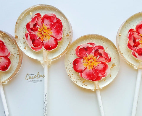 Pink Flower Lollipops -Set of 6 - Sweet Caroline Confections | The Original Sparkle Lollipops