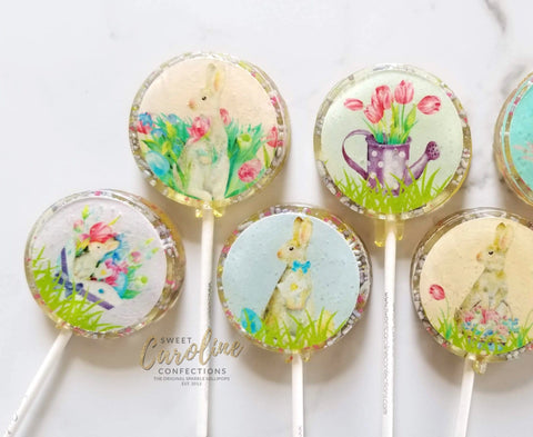 Easter Watercolor Lollipops - Set of 6 - Sweet Caroline Confections | The Original Sparkle Lollipops