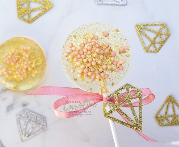 Diamond Bridal Shower Lollipops, Tag Included! - Set of 6 - Sweet Caroline Confections | The Original Sparkle Lollipops