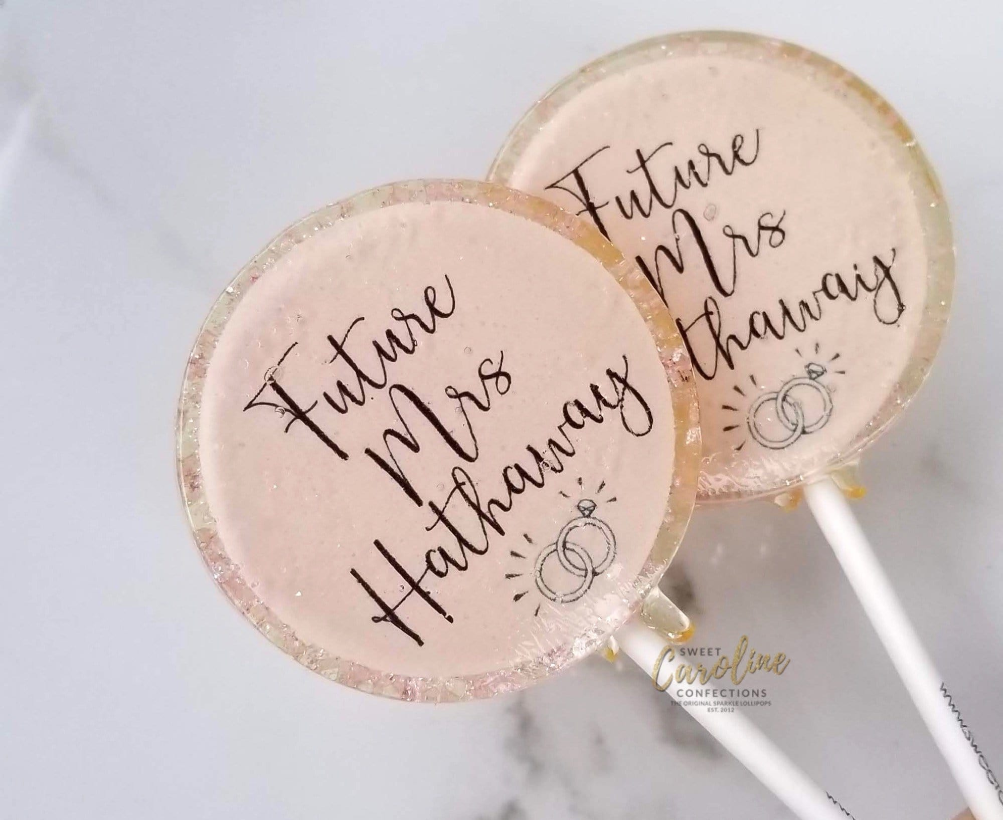 Light Pink and Gold Bridal Shower Lollipops - Set of 6 - Sweet Caroline Confections | The Original Sparkle Lollipops