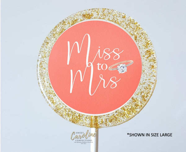 Coral and Gold Bridal Shower Lollipops - Set of 6 - Sweet Caroline Confections | The Original Sparkle Lollipops