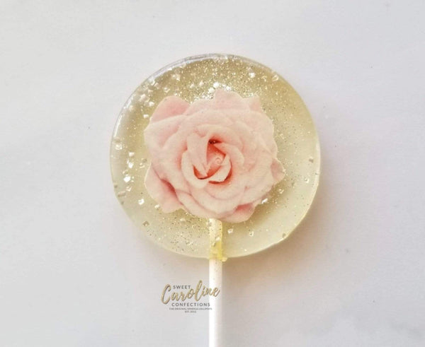 Light Pink Rose Lollipops -Set of 6 - Sweet Caroline Confections | The Original Sparkle Lollipops