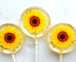 Sunflower Lollipops -Set of 6 - Sweet Caroline Confections | The Original Sparkle Lollipops