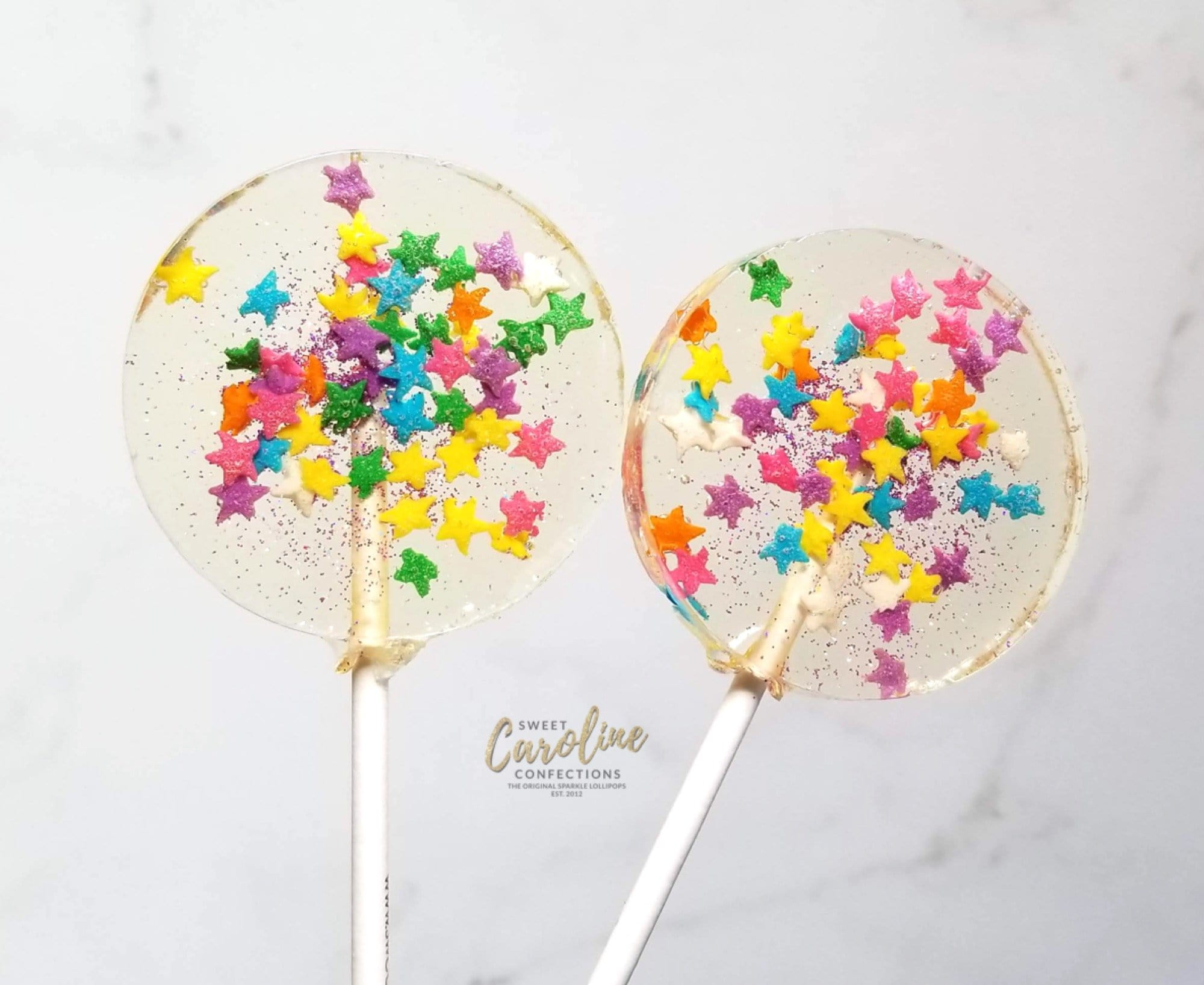 Multicolored Star Sparkle Lollipops - Set of 6 - Sweet Caroline Confections | The Original Sparkle Lollipops