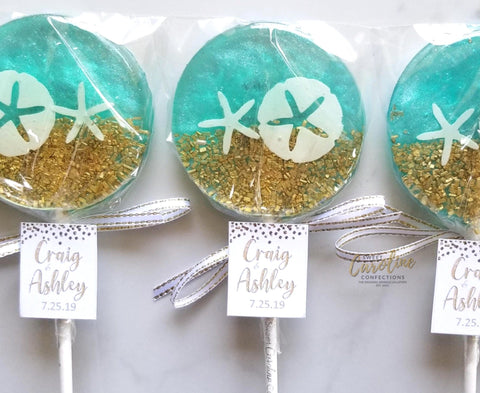 Under the Sea Beach Lollipops - Set of 6 - Sweet Caroline Confections | The Original Sparkle Lollipops