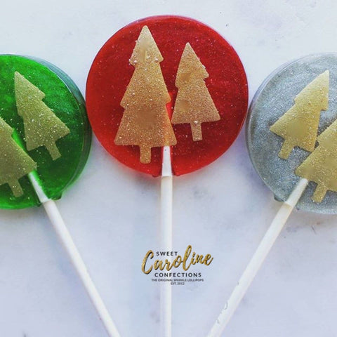 Gold Christmas Tree Lollipops - Set of 6 - Sweet Caroline Confections | The Original Sparkle Lollipops
