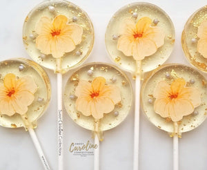 Peach Flower Lollipops -Set of 6 - Sweet Caroline Confections | The Original Sparkle Lollipops