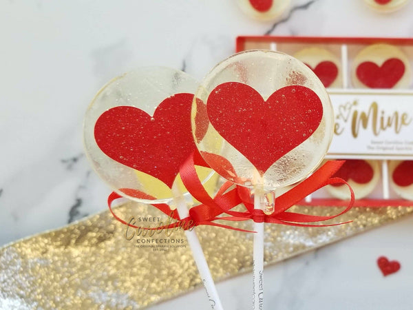 NEW! Valentine's Day Gift Box - Red Hearts in Be Mine Box - 6 Lollipop Set - Sweet Caroline Confections | The Original Sparkle Lollipops