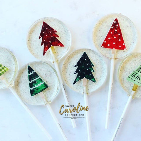 Vintage Christmas Tree Lollipops - Set of 6 - Sweet Caroline Confections | The Original Sparkle Lollipops