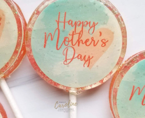Mother's Day Watercolor Lollipops -Set of 6 - Sweet Caroline Confections | The Original Sparkle Lollipops