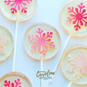 Pink Snowflake Lollipops - Set of 6 - Sweet Caroline Confections | The Original Sparkle Lollipops